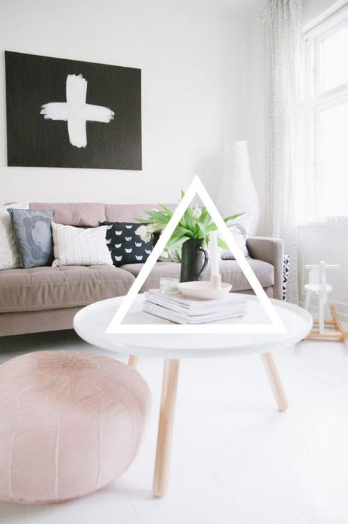 Pastel colored Scandinavian living room design