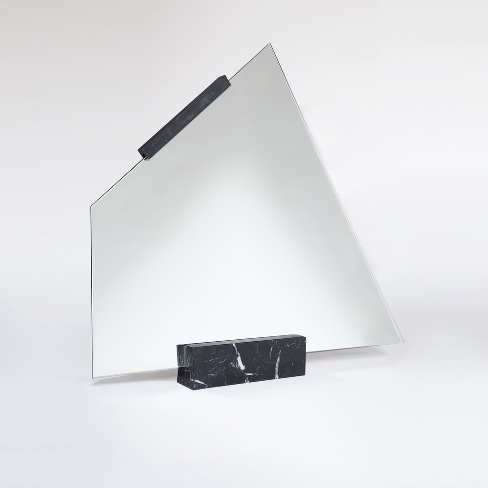 geometric mirror with marble base
