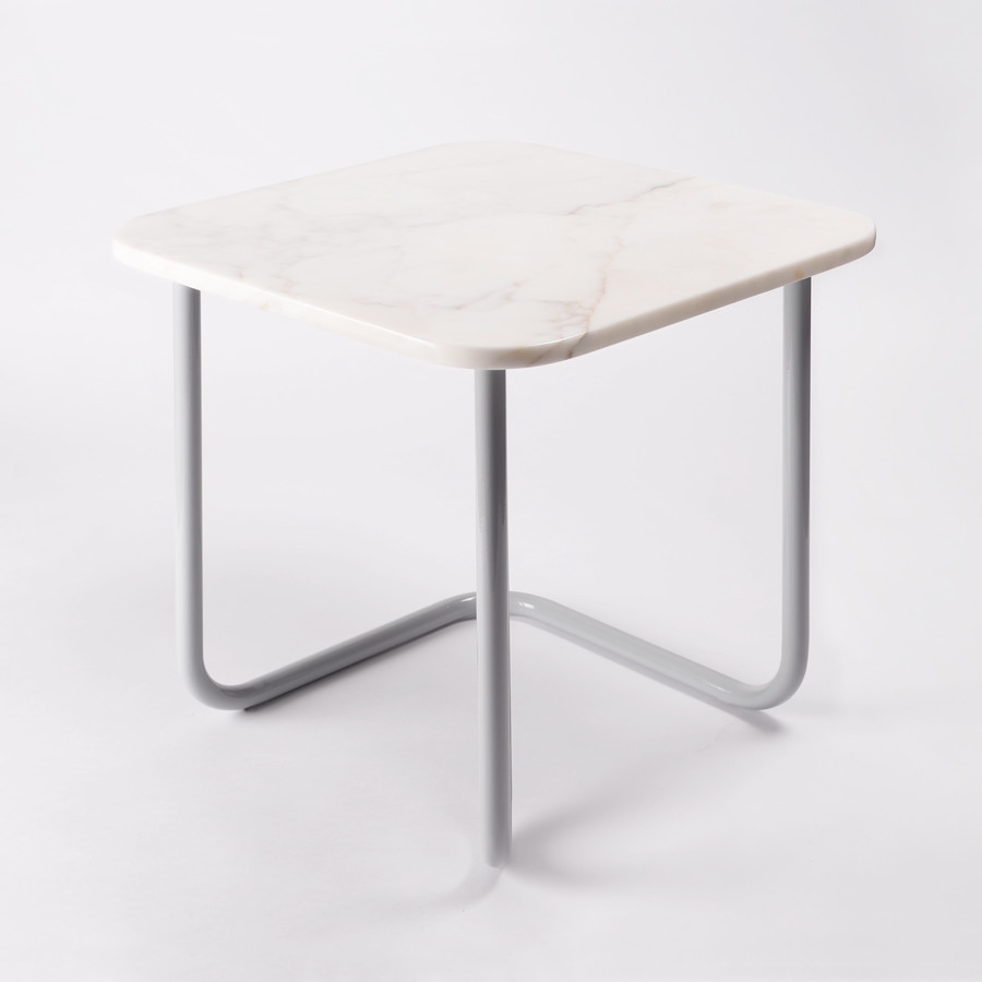 Side table made of steel and marble