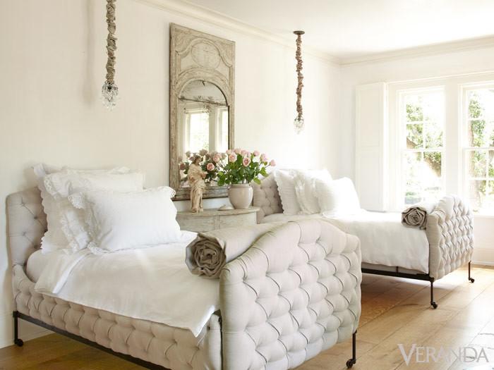 Beige relaxing guest room by veranda