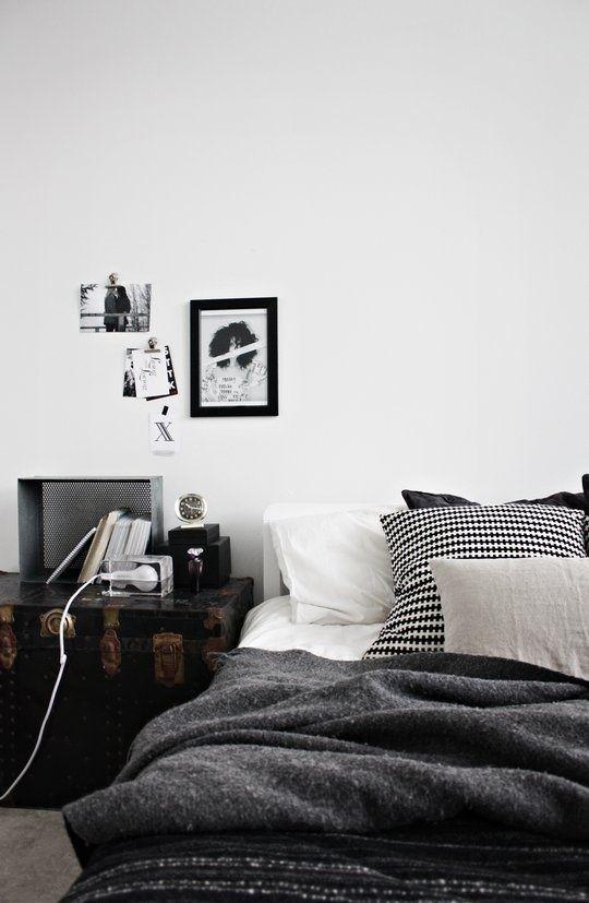 black and white scandinavian bedroom design