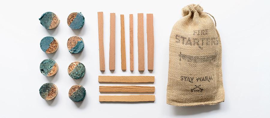 salvaged cedar fire starter kit outdoors