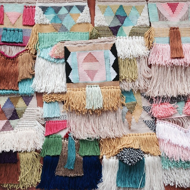 colorful textile art with fringes