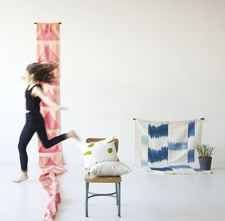 colorful textile wall hangings