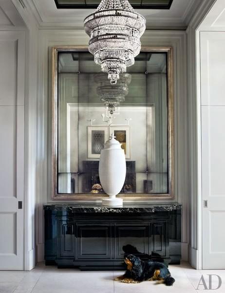 large antique mirror Demilune console