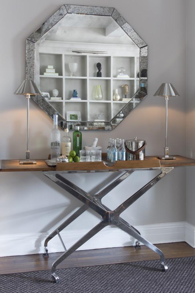 Antique Hex Mirror Tray Table