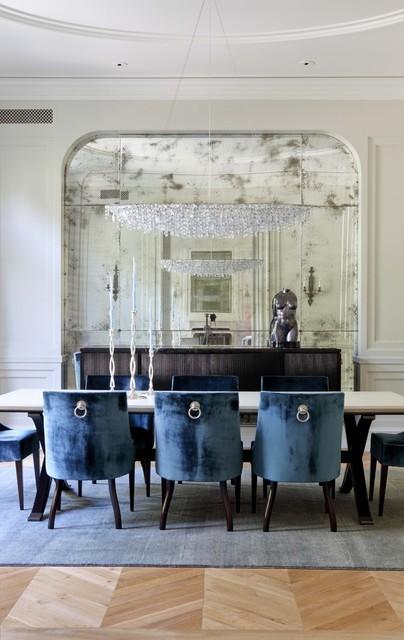 oversized antique mirror velvet dining room chairs