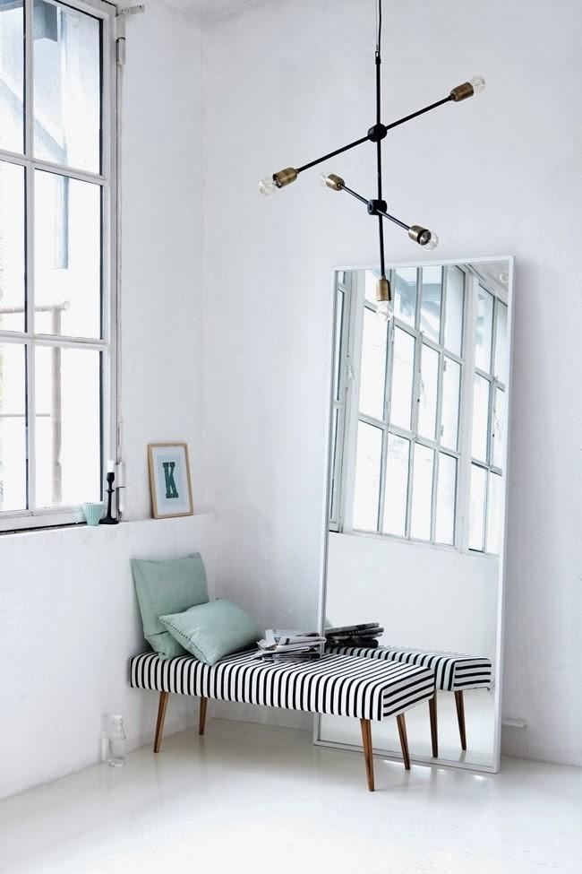 striped bench high floor mirror