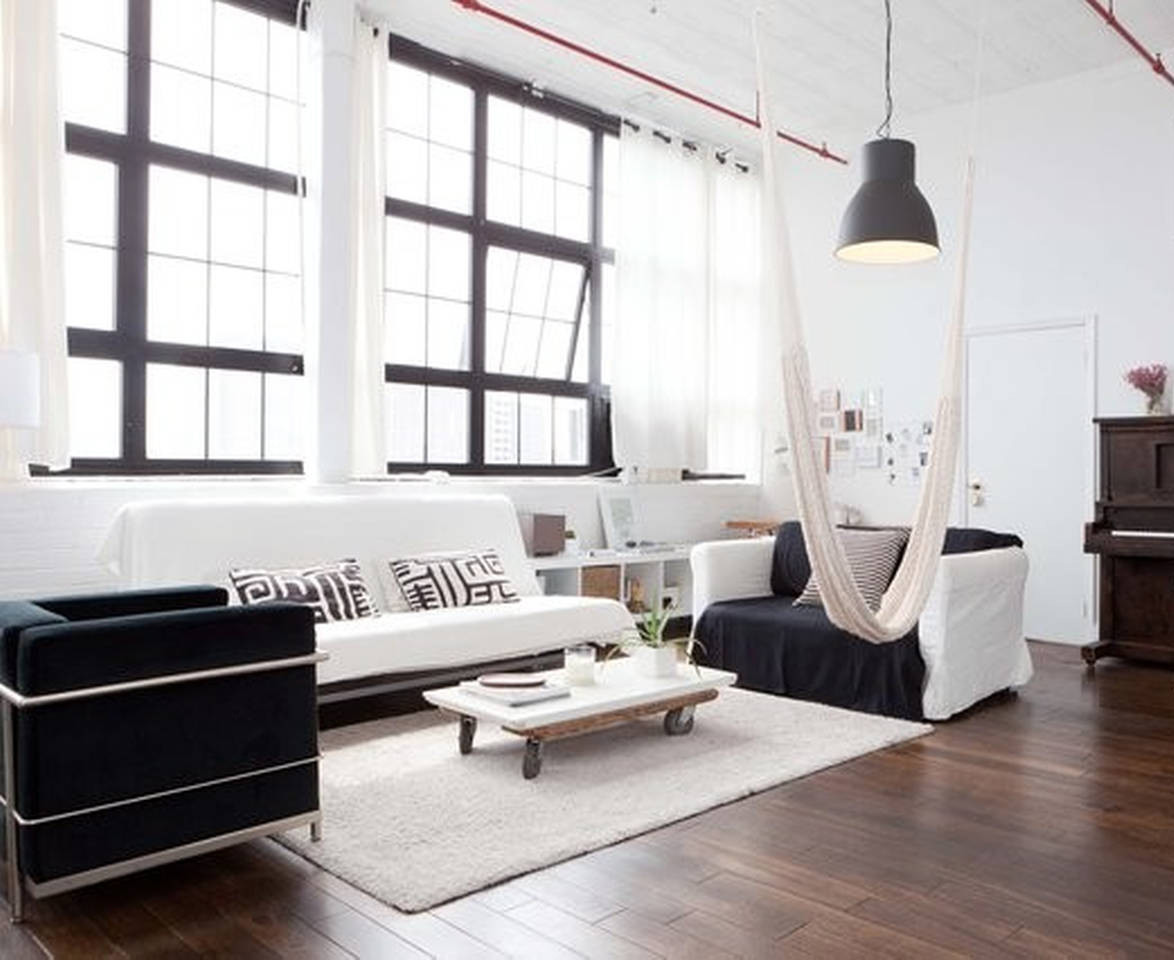 Black and white Scandinavian loft
