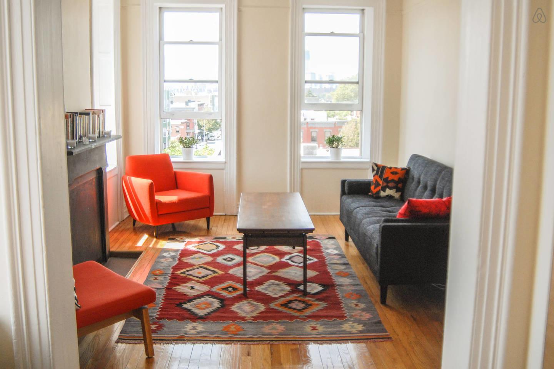 red armchair mid century modern living room
