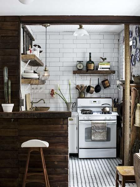 Rustic vintage apartment kitchen