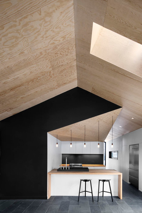 Vaulted wooden ceilings modern kitchen