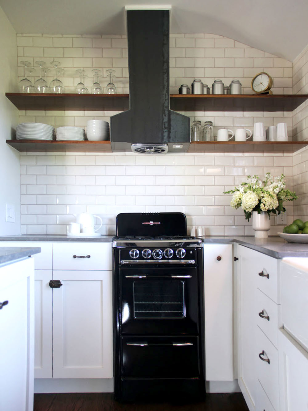 Small appliances subway tile kitchenette