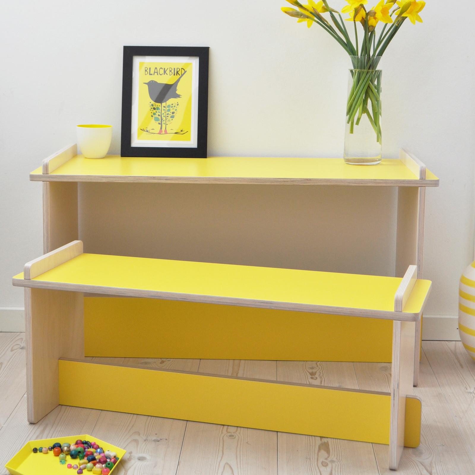 Modern yellow children's desk and bench