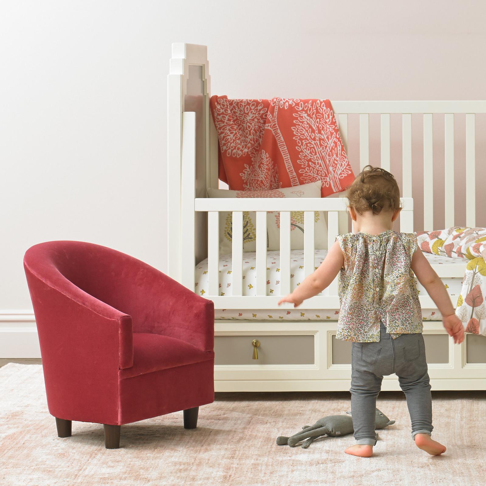 Mini velvet children's armchair