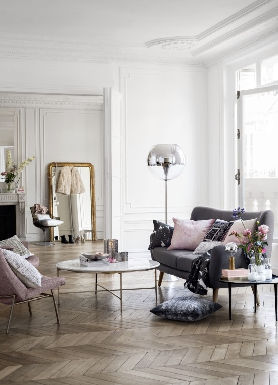 blush tones neutral living room design