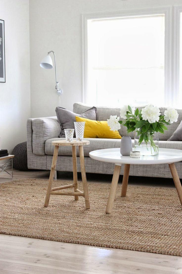 yellow pillow gray sofa living room