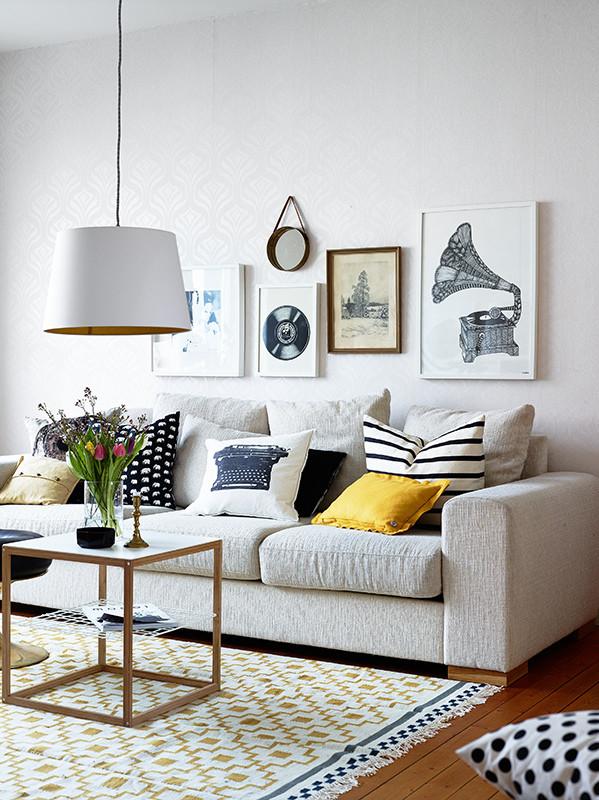 colorful pillow white sofa