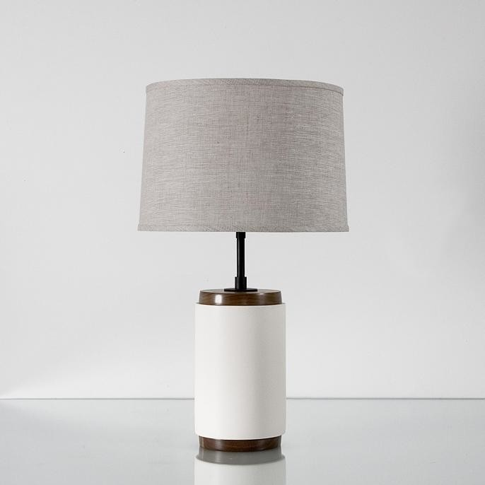 white ceramic table lamp with gray shade