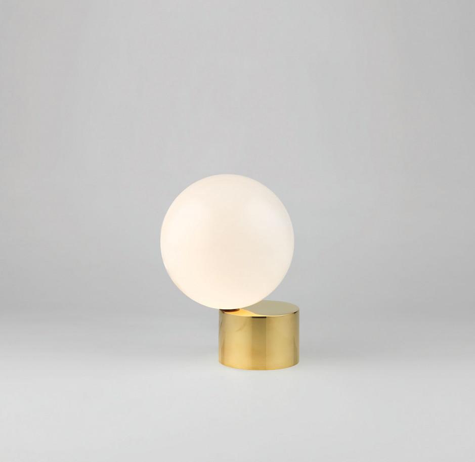 Brass table lamp globe light