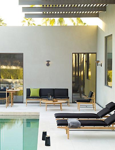 Black cushion wood seating outdoors