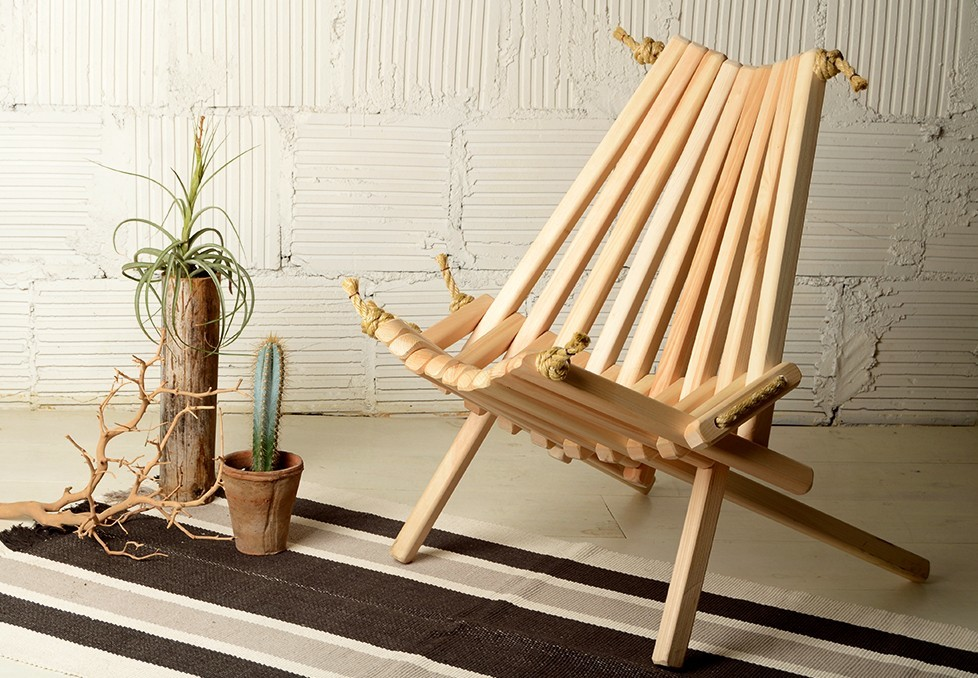 Foldable wooden chair outdoors