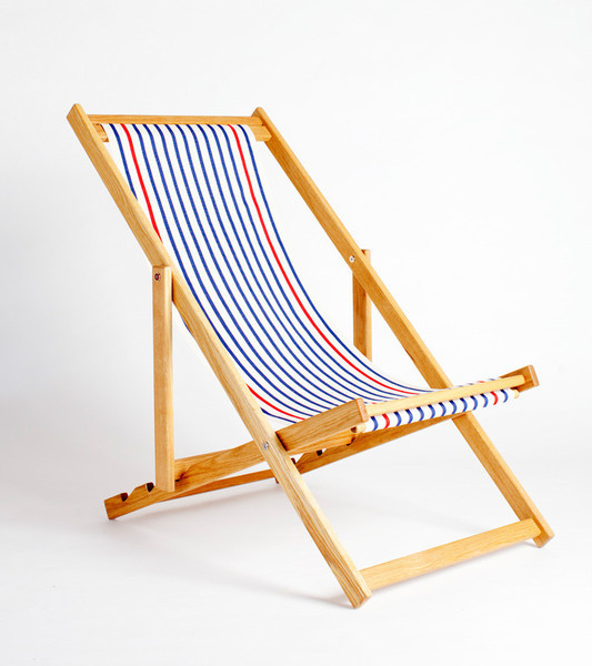 blue fabric wood sling chair