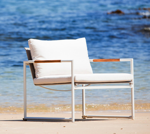 minimalistic white outdoor armchair