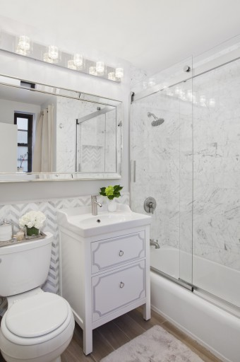 white marble bathroom chevron tiles
