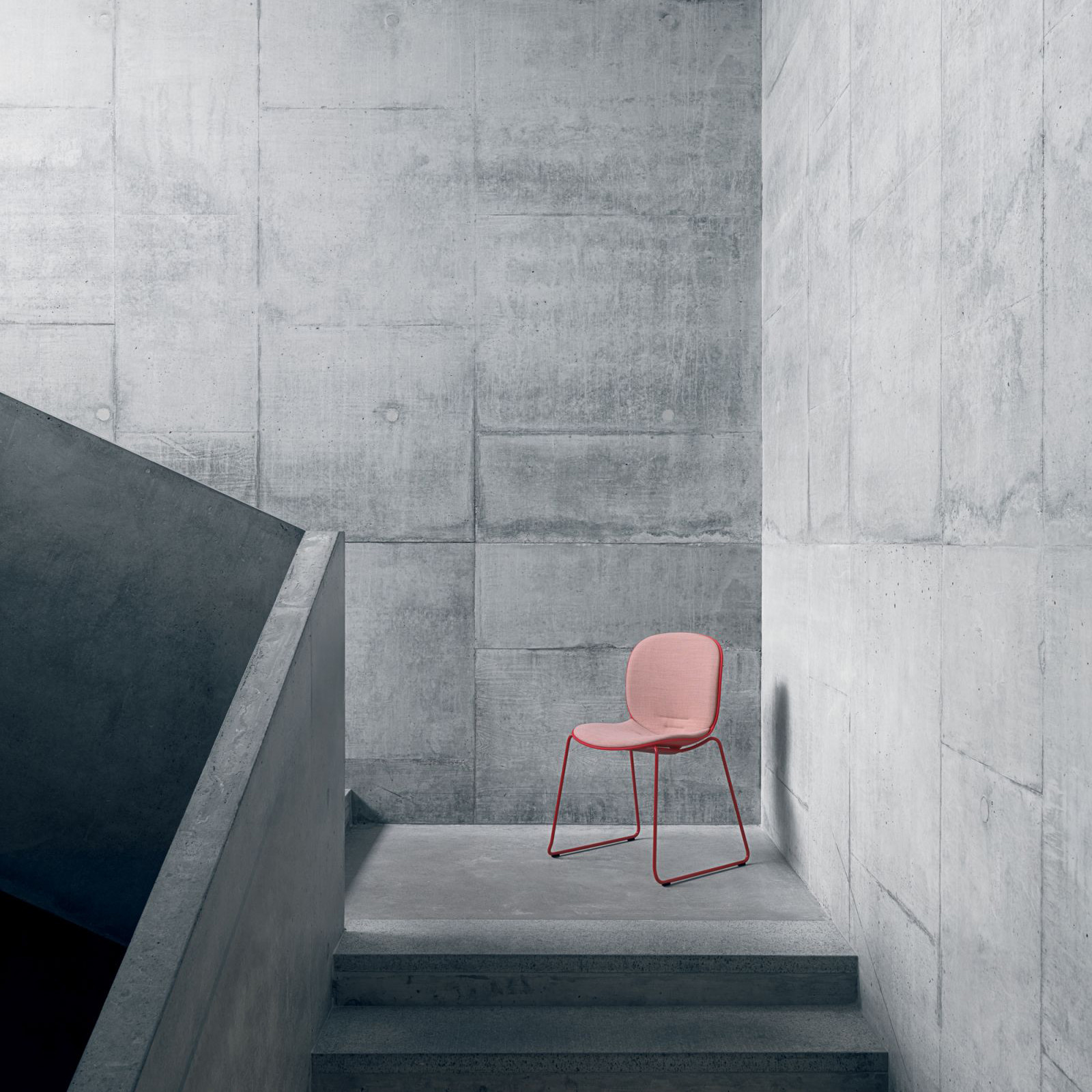 pink side chair gray walls
