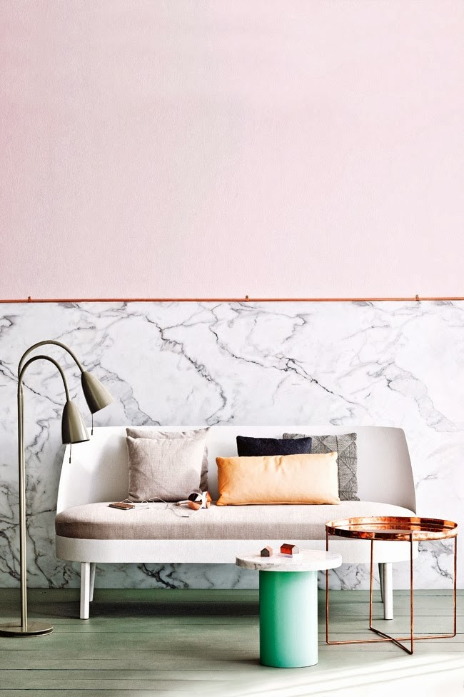 Pink and marble living room design