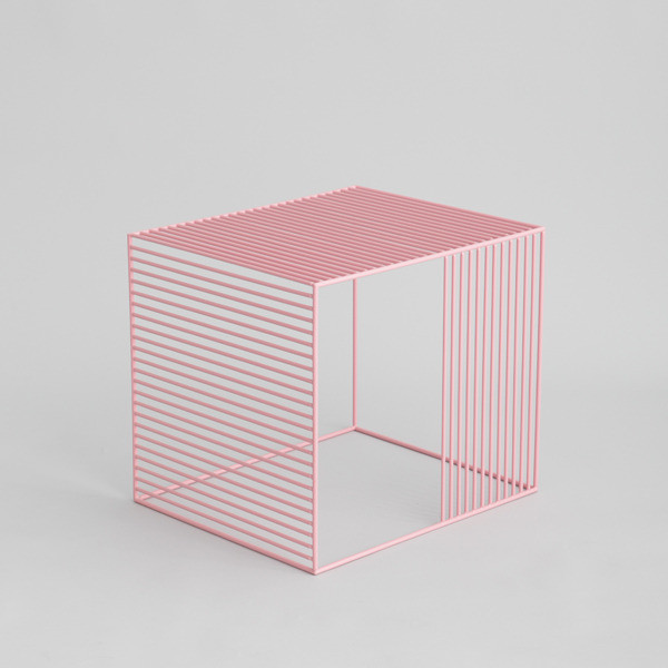 pink wire side table
