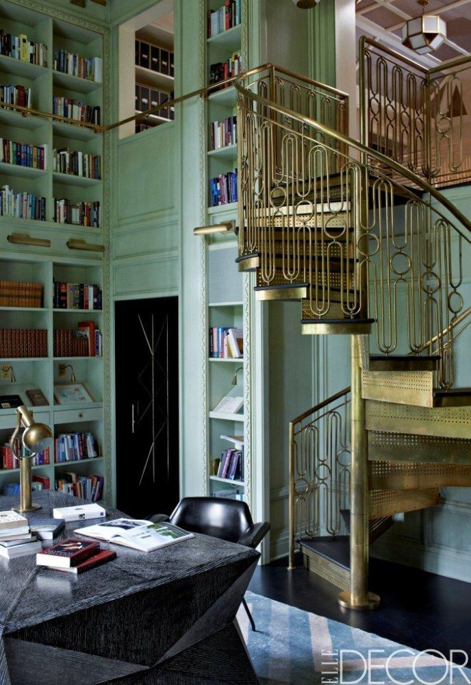 Gold spiral staircase glamorous home office