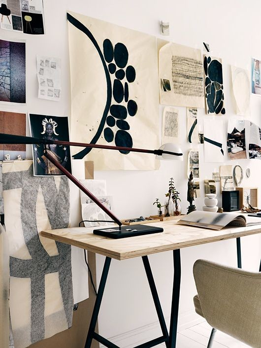 Home office with wall art and prints