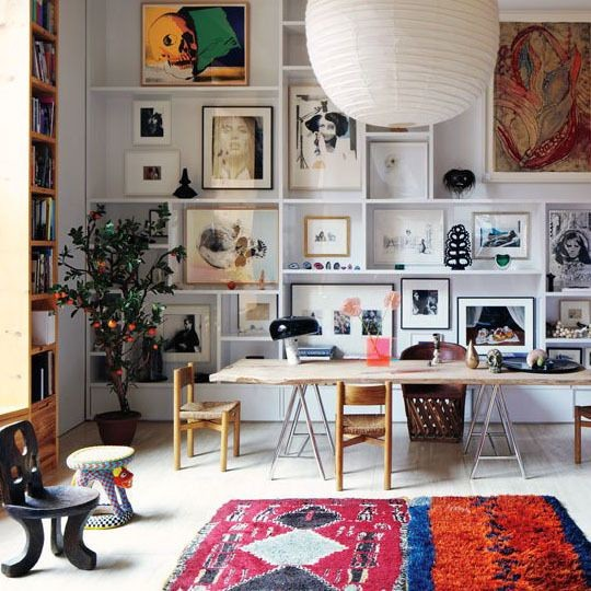 Manhattan Loft Home Office with Gallery Wall