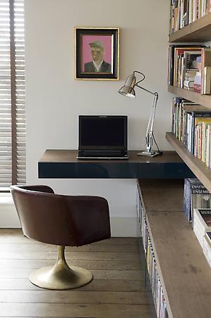Wood panel desk home office design