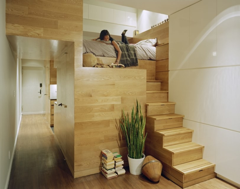 Wood storage micro apartment design