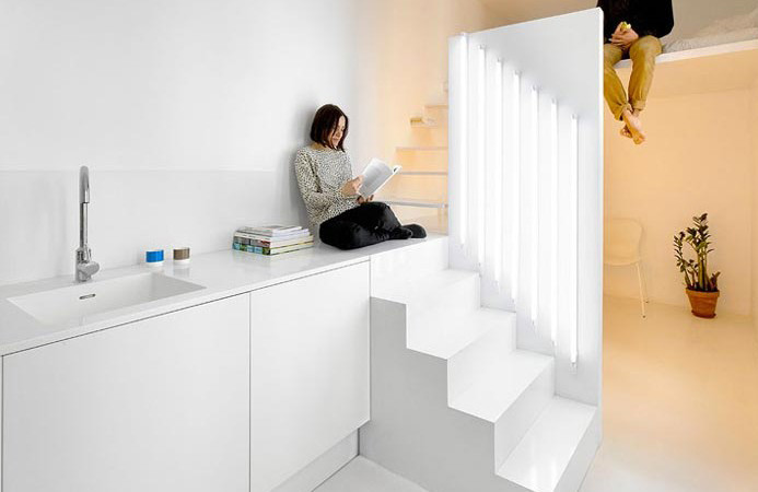 designed white stair micro house