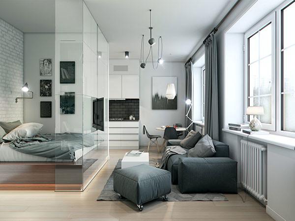 Micro apartment living room glass wall