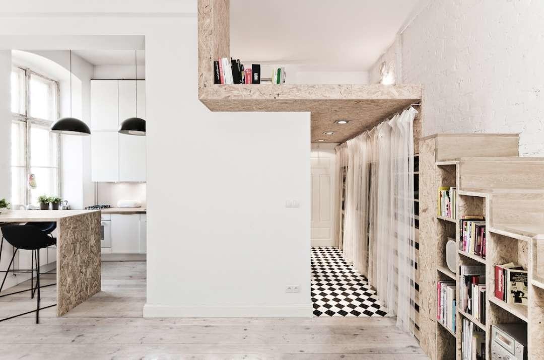 Black and white tiles micro apartment