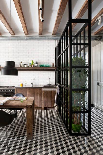 Black and white kitchen tiles