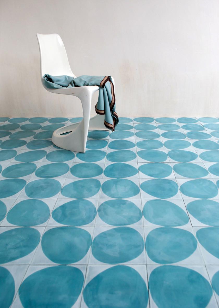 blue circles cement tile floor