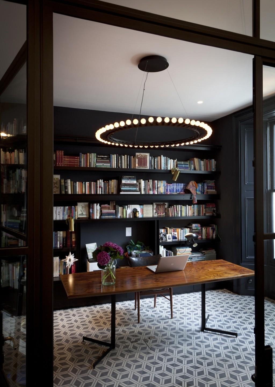 black office wood desk statement chandelier
