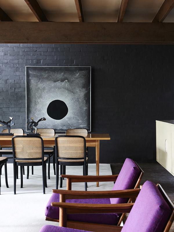 Black brick dining room