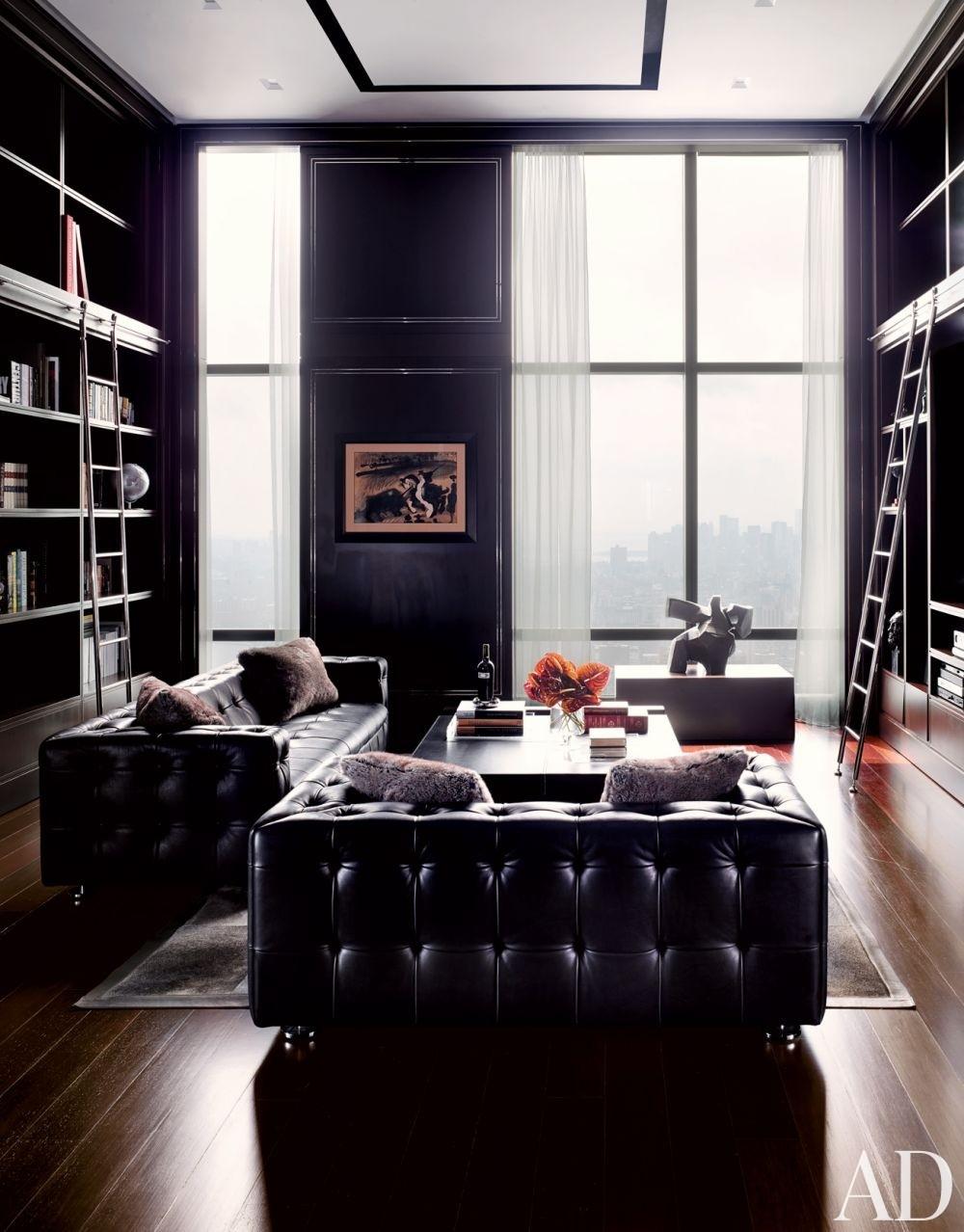 black wall New York City apartment design