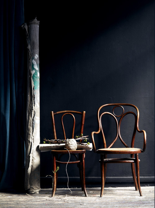 Bentwood chairs black wall