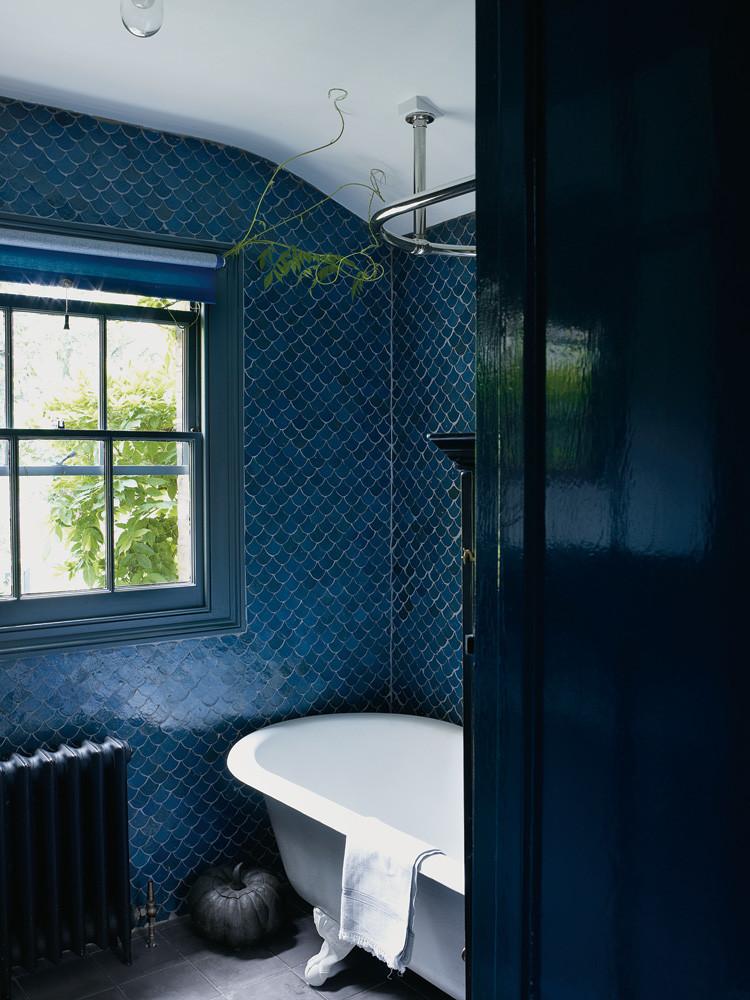 dark blue bathroom tile