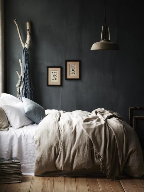 dark gray bedroom in Scandinavian style