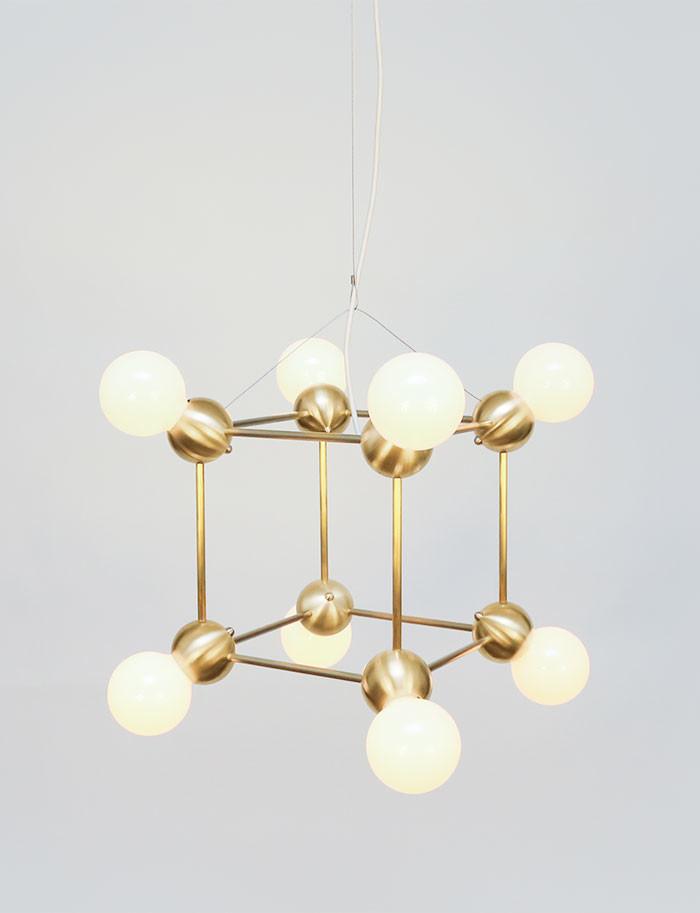 eight bulb gold pendant light