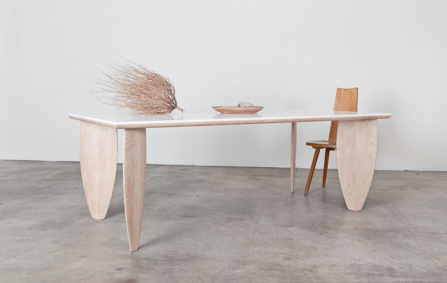 Wood surfboard dining table